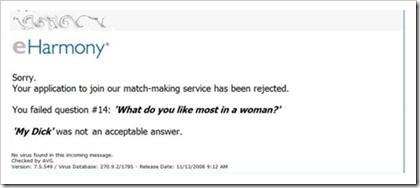 eHarmony dating service failed application