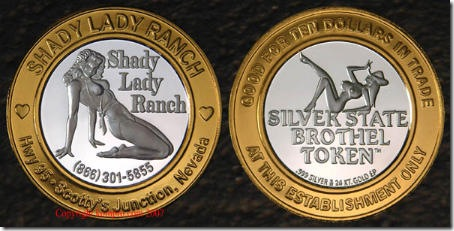 Get your Shady Lady Ranch Brothel Token now! Good for $10 in trade!