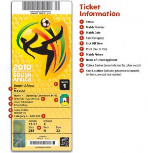 2010 FIFA Soccer World Cup South Africa ticket