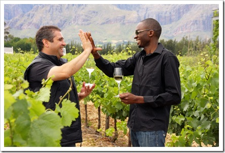 Nederburg winemakers Razvan Macici and Tariro Masayiti celebrate with a Hi-Five