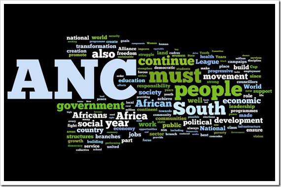 Wordle of the ANC NEC 99th Anniversary Statement