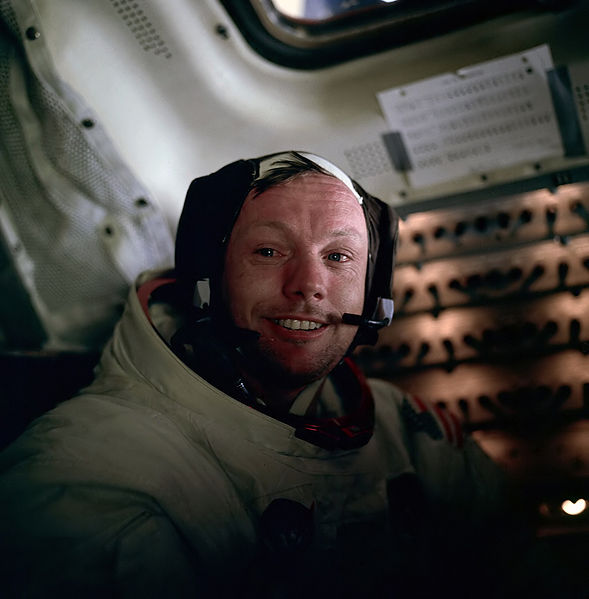 Neil Armstrong inside the Apollo 11 capsule, in a picture taken by Buzz Aldrin